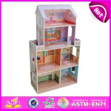 2014 nouvelle maison de poupée en bois enfants mignons, maison de poupée en bois belle enfants populaires, mode maison de poupée en bois de bricolage usine W06A080