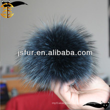 2017 Hot selling cheap raccoon ball blue fur pom poms