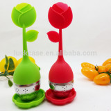 Creative Flower Shape Food Grade Silicone Tea Strainer /Infuser/Filter with Stainless Steel