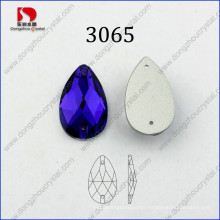 Factory Direct Sale Drop Purple Velvet Sew on Facets Glass Rhinestone