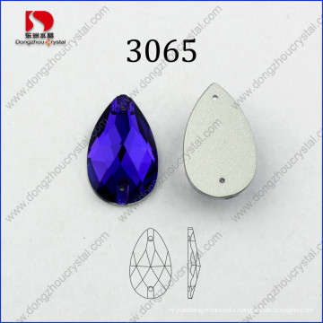 Factory Direct Sale Drop Purple Velvet Sew on Facets Glass Rhinestone