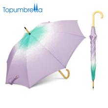 parapluie fabricant chine Gradient personnalisé fantaisie poignée en bois parapluie