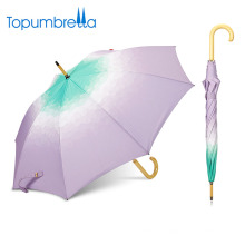 Customized Made Designs Color Gradient Double Straight wooden handle umbrella