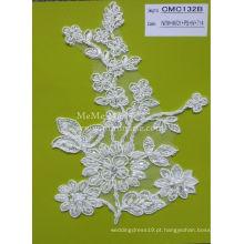 Tecido de renda branca com tecido de cordão com cordão pesado para vestido de noiva CMC132B