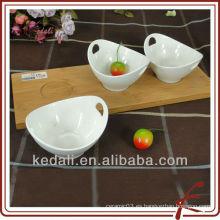 Placa de cena de cerámica con bandeja de bambú