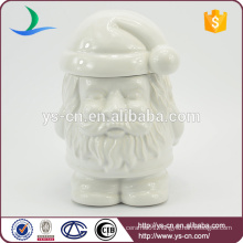 Wholesale White Ceramic Father Christmas Cookie & bread Storage