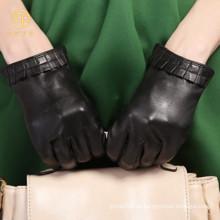 Guantes de cuero de resorte de piel de oveja de mujer con forro de seda para conducir