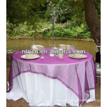 High quality polyester table cloth and crystal organza overlay