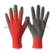 13G Red Polyester Grey Latex Palm Coating Work Gloves