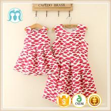 Vestido de verano sin mangas de las mujeres de la impresión floral de la boca roja muchachas y vestidos de la madre vestido fiesta