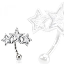Triple Curve Pavée Star CZ Eyebrow Ring