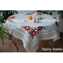 Christmas Table Cloth with Lace Fh109