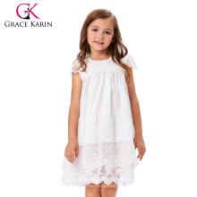 Grace Karin Niños Niños Niñas Cap manga cuello redondo blanco vestido de encaje flor chica CL010443-1
