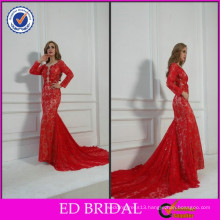 FY024 2015 China Supply Red Long Sleeve Deep V Neck Long Lace Evening Dress