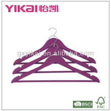Dark purple wooden shirt hanger with round bar and U notches