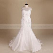 Bling Bling radiante de la sirena del amor V de espalda sin mangas vestido de novia