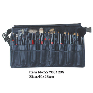 22pcs studio makeup brush kit with black satin folder