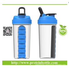 New Patented 600ml Pill Organizer Protein Shaker Bottle with Pill Container