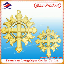 Italy Christian Religious Medals Cross Gold Medallion Hollow Medal Metal Emblem Pin Badge with Safety Pin (LZY-00020130057)