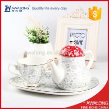 Серый равнине чашку чая и горшок набор керамических костей фарфора кофейные чашки
