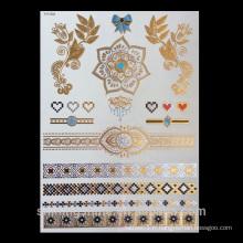 Eco-friendly flash gold tatouage temporaire tatouage autocollant à la couleur et la plupart des designs à la mode art corporel