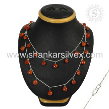 Personalized Custom Jewelry Red Carnelian Necklace 925 Silver Jewelry Wholesale