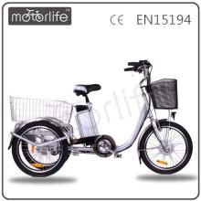 Triciclo elétrico da marca EN15194 36v 250w de MOTORLIFE / OEM, triciclo de três rodas para o adulto