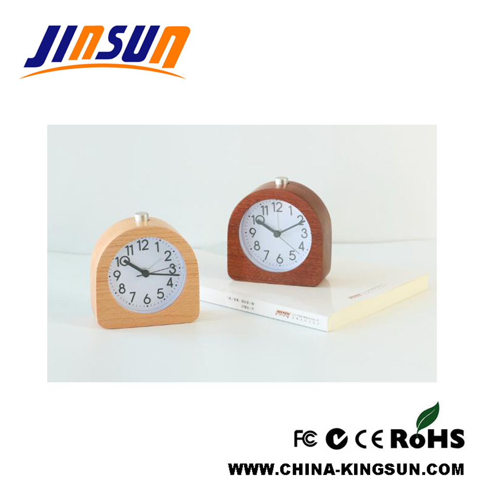 Wooden Quartz Clock Arc Shape Night Light