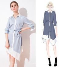 2019 Long Sleeve Ruffle Slim Contrast Turn-down Collar Elegant Lady Shirt Dress With Blet