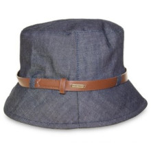 Ladies Fashion Design Denim Bucket Floppy Hat with Belt