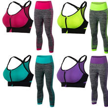 Women Activewear Sports Bra & 3/4 Leggings Suit Fitness Clothing