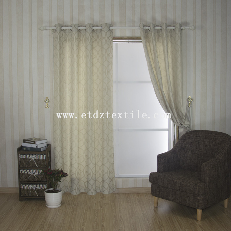 100% Polyester Linen Like Jacquard Curtain Fabric 6005-55