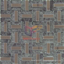 Grey Leaf Glass Mix Metal Stainless Steel Mosaic (CFM831)