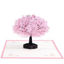 Tarjetas de felicitación de flor de cerezo de efecto 3D