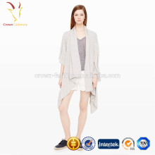 Winter fashion ladies plain knit cashmere pashmina poncho cardigan