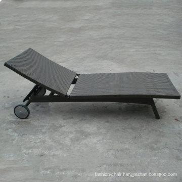Black Rattan Outdoor Garden Aluminum Hotel Chaise Lounge