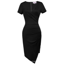 Belle Poque manga corta con cuello en V asimétrico caderas-envuelto negro bodycon lápiz vestido BP000363-1