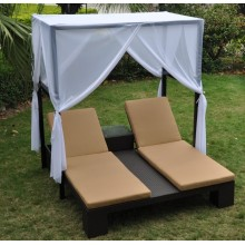 Sun Lounger Wicker Sunbed doble con toldo