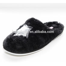 Soft plush indoor slippers with sequin star women winter slipper