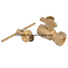 Válvula de bola con cerradura de latón para el medidor de agua