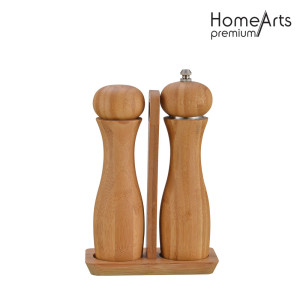 Wooden Hand Pepper&Salt Mill Set With Base
