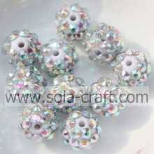 Wholesale Silver AB Color Solid Resin Rhinestone Loose Beads 10*12MM