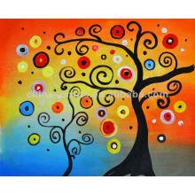Árvores abstratas coloridas manualmente Pintura a óleo