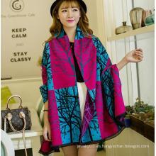 Bufanda china al por mayor de las mujeres, bufanda impresa de la lana merino del invierno