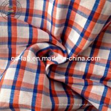 100% Tissu teint de fil de lin (QF13-0757)