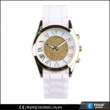 Reloj de señora de la venda del silicón del caso del oro de la aleación