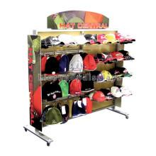 Productos hechos a mano hechos a mano del deporte de la colocación del piso que venden el estante de visualización del sombrero del metal para el almacén al por menor