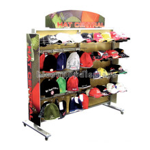 Custom Handmade Floor Standing Sportwear Products Merchandising Metal Hat Display Rack For Retail Store