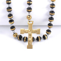Black Rubber Beads Catholic Rosary Cross Necklace