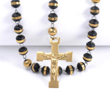 Svart Gummi Pärlor Katolska Rosary Cross Necklace